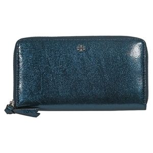 Tory Burch Crinkle Metallic Zip Continental Wallet